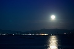 Full moon on Seto Inland Sea (somazeon) Tags: moon night japan hiroshima miyajima
