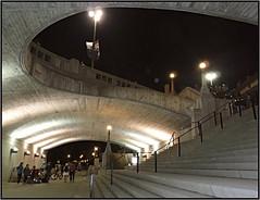Night Tunnel (bigbrowneyez) Tags: tunnel night lights nighttunnel curves dof stairs ottawa downtownottawa canada fabulous design shapes textures stunning striking amazing beautifllylit smashing awesome wonderful underground lampposts afterfireworksshow lines circles rectangles