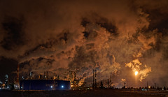 Refinery by Candlelight (Kurayba) Tags: edmonton alberta canada imperial oil refinery esso flare flaring bright fire light candlelight steam exhaust pollution cloud clouds tank storage gas night smog hell hellscape industrial industry pentax k1 dfa 2470 f28 heavy hdpentaxdfa2470mmf28edsdmwr