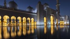 Sheikh Zayed Mosque Night Reflections (yoosangchoo) Tags: abudhabi uae mosque grand zayed sheikh night reflections light hour blue