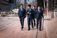 Students on their way to study in the morning. (Goran Bangkok) Tags: bhaktapur nepal students boys girls morning city street streetphotography streetphoto fujixt3
