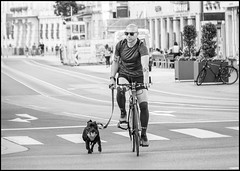 Cycling in Innsbruck (mandyhedley) Tags: city blackandwhite dogs cycling austria tirol oldtown innsbruck keepfit travel healthy bikes explore hdr austrian travelphotography