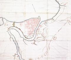 Kart over Trondhjem med festningsverk (ca. 1695) [utsnitt]