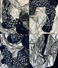 Spasmes d'une chaussette sur fond de blouse et de jean (Jean-Jacques Peyre) Tags: chaussette art contemporain jean blouse drapé contraste lumière dégradé spasmes