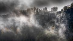 standing in the clouds - Mitten in den Wolken (ralfkai41) Tags: sächsischeschweiz nebel landschaft nature felsen elbstandsteingebirge wald natur rocks woodland saxonianswitzerland mist sachsen elbesandstonemountains forest clouds bastei landscape fog basteibridge basteibrücke wolken saxony