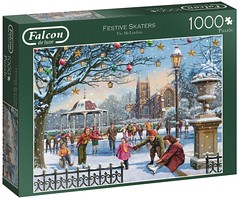 "FALCON F ? 1000 68X49CM ART 11185  FESTIVE SKATERS Vic McLindon DELUXE (Andrew Reynolds transport view) Tags: ""jigsaw puzzle"" picture pieces large difficult falcon hobby leisure pasttime f 1000 68x49cm art 11185 festive skaters vic mclindon {ar} deluxe jigsaw"