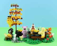 Happy Thanksgiving for the animals🐷 (Alex THELEGOFAN) Tags: lego legography minifigure minifigures minifig minifigurine minifigs minifigurines moc animal thanksgiving tree grass food chicken yellow flesh