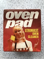 E5F48094-031B-4B66-BDF6-8D43B0C2B5B3 (rolylawson) Tags: oven cleaner pad 1970 cleaning product janitor kitchen appliance blond girl apron