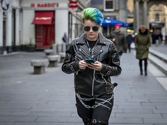 Chained (Leanne Boulton) Tags: street portrait urban candid streetphotography streetportrait streetlife candidportrait candidstreetphotography blue woman green girl face sunglasses leather fashion female youth hair punk mood expression style chain colourful spikes studs detail texture bokeh depthoffield isolation tone light outdoor naturallight shade city scene human life people living humanity culture lifestyle society uk colour canon scotland glasgow 70mm canon5dmkiii ef2470mmf28liiusm