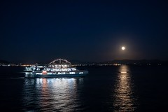 Moon and Ferry (somazeon) Tags: japan miyajima hiroshima night