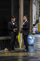 A couple of swells (jeremyhughes) Tags: london men gentlemen tuxedo dinnerjacket cigar street people youngmen binbags chancerylane suave groomed blacktie swells smart dapper youth nikon d810 nikkor candid 80200mmf28