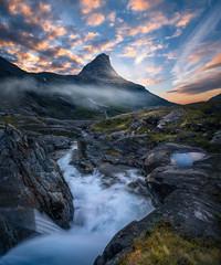 The Bishop (Ole Henrik Skjelstad) Tags: norway mountain river waterfall cascade sunset rocks water landscape