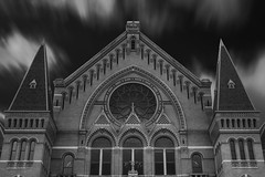 Music Hall (Evan Faler) Tags: music hall cincinnati ohio blackandwhite clouds nikon d800 usa horizontal brick architecture rose window detail long exposure