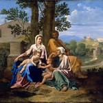 90в Никола Пуссен. Святое семейство в пейзаже, ок.1650. Лувр
