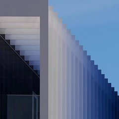 Abstract Architecture (2n2907) Tags: abstract architecture office building graphic design geometry geometric pattern shapes lines perspective blue shades urban soft layers fins square rectilinear