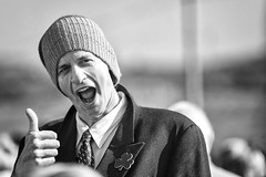 He likes it! (Frank Fullard) Tags: frankfullard fullard candid street portrait thumbsup thumb approval happy cap beanie knitted achill mayo irish ireland black white blanc noir monochrome monocrome smile shamrock