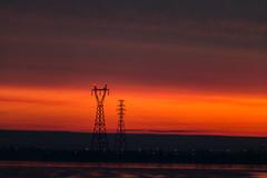 Power Glow (langdon10) Tags: canada montreal quebec stlawrenceriver sunrise powerlines shoreline