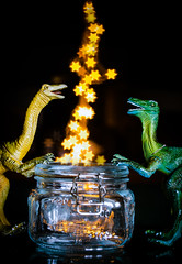 catching stars (auntneecey) Tags: catchingstars dinosaurs cute bokeh starbokeh twinkle lights toys tabletop 365the2019edition 3652019 day333365 29nov19