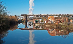 pullmans over the weaver (midcheshireman) Tags: train railway locomotive diesel river weaver cheshire reflections northernbelle