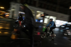 Brompton bikers (PChamaeleoMH) Tags: bicycles centrallondon evening london motion panning street victoria