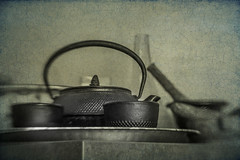 Kitchen Still Life (suzanne~) Tags: home kitchen teapot cup iron japanese chinese tabletop stilllife monochrome lensbaby sol45