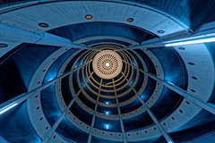 Looking up... (T.Seifer : )) Tags: architecture building spiral light indoors lines inside blue view perspective design fisheye hamburg