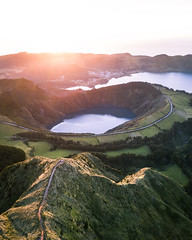 Glance into the Crater (Fabian Fortmann) Tags: crater lake vulcano hiking path trail drone portugal azores azoren sunset sonnenuntergang