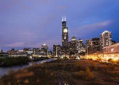 (jfre81) Tags: chicago downtown loop south river water field lights skyline cityscape landscape twilight dusk night purple color sundown james fremont photography jfre81 canon rebel xs eos