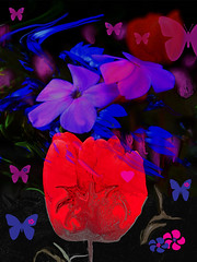 Bright and Magical (kfocean01) Tags: flower flowers red pink blue glow nature art artsy creative creativephotography awardtree butterfly shockofthenew sliderssunday hss netartii