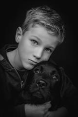 DSCF4357-3 (YouOnFoto) Tags: boy jongen dog hond pet huisdier portret portrait sweet lief black whote zwart wit