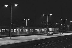 Hannover-Celle (maximilian_buhl) Tags: solitude blackandwhite monochrome transportation train travel station urban scene lowkey celle bahnhof noperson empty melancholie citylife schwarzweiss canon macro50mm low key