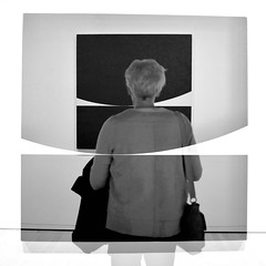 Absorbed in Art 2 (No Great Hurry) Tags: doubleexposure x100f fujifilm kiss1961 noiretblanc exhibition blackwhite monochrome mono bnw london abstract robinmauricebarr nogreathurry bridgetriley haywardgallery absorbedinart