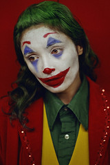 #ProjectNeverland: #Joker (TheJennire) Tags: photography fotografia foto photo canon colours colores cores film cinema joker arthurfleck toddphillips joaquinphoenix 2019 toronto canada ootd outfit makeup clown conceptualphotography art night 50mm portrait projectneverland greenhair closeup fashion movie