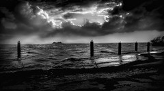 The Light at the Heart of the Storm (JDS Fine Art Photography) Tags: bw monochrome sea ocean inspirational cinematic dramatic dramaticsky illumination skyscape storm stormysea beauty nature naturalbeauty