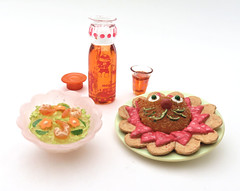 Cooking With Mama # 5 (MurderWithMirrors) Tags: rement miniature food meal lion rice plate bowl shrimp carrot mogumogu drink juice bottle glass lid mwm cookingwithmom