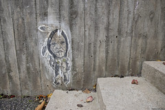 An Old Painting (Muhtar Saih AlArd) Tags: painting wall school folkhögskola rimforsa sweden stairs grey woman old leaves coldness autumn