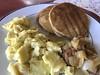 Gluten-free pancakes, scrambled eggs, chicken apple sausage (TomChatt) Tags: food homecooking glutenfree