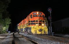 NAS Fuller (GLC 392) Tags: mqt marquette rail railroad railway train emd sd402 3406 3407 3389 fuller diamond search light signal grand rapids mi michigan walker z151 night time flash flashing
