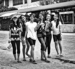 Hello Girls (Beegee49) Tags: street people students girls filipino filipina blackandwhite monochrome sony bw silay city philippines asia