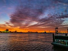 Penns Landing Sunrise (dweible1109) Tags: scenic lands cellphonephoto iphone skyscape skyline sky cloudscape clouds magichour sunrise delawareriver pennsylvania philadelphia pennslanding