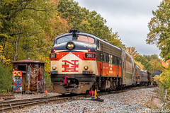 Passenger Special at Cotley Jct. (Vincent Colombo) Tags: massachusetts unitedstatesofamerica taunton autumn color graffiti foliage funit funitfriday middleborosubdivision fall massbayrre railroadenthusiasts southcoastexplorer