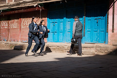 Students on their way to study in the morning. (Goran Bangkok) Tags: bhaktapur nepal students girls morning city street streetphotography streetphoto fujixt3 happyplanet asiafavorites