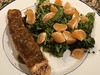 Broiled salmon in tangerine balsamic sauce; steamed broccolini with tangerines (TomChatt) Tags: food homecooking