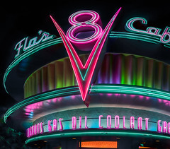 flo's cafe (pbo31) Tags: californiaadventure disneyland anahiem color park october 2019 boury pbo31 siemer la nikon d810 night black neon sign panorama large stitched panoramic cars pixar 8 drivein v