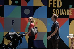 fed square (jhnmccrmck) Tags: blue green yellow red colours melbourne victoria australia 3000 fujifilm fujifilmxt1 xt1 xf1855mm classicchrome federationsquare people avril
