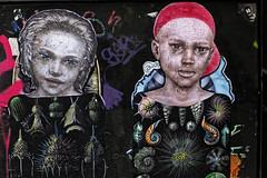 Duo (Akelo) (Edgard.V) Tags: paris parigi street art urban urbano arte callejero mural graffiti portrait retrato ritratto portrature enfant children bambini crianças