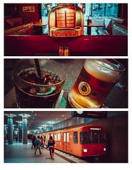 Berlin Triptych (Gordon McCallum) Tags: berlin jukebox 60sdiner drinks germanbeer jackdaniels jackncoke undergroundtrain brandenburg station samsungs8