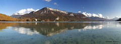 Panorama Lac d'Annecy (ChristDup) Tags: lac lake panorama paysage landscape reflection reflet montagne mountain ciel sky neige snow automne autumn eau water nature extérieur alpes frenchalps annecy hautesavoie canon canoneos6dmarkii canonef24105mmf4lisiiusm
