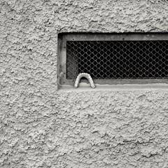 somebody's teeth (stefkas) Tags: stefkas monochrome blackwhite blackandwhite square window teeth almostabstract basement facade rauhputz inexplore