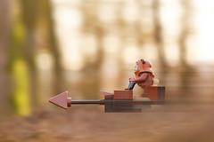 LEGO Ewok Wicket and Speeder Bike (weeLEGOman) Tags: lego star wars endor ewok wicket speeder bike minifigure toy macro photography uk outdoors outside motion blur nikon d7100 105mm robert rob trevissmith weelegoman